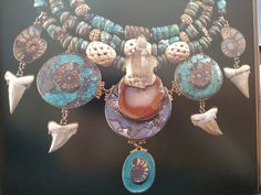 """""""Talisman of Power,"""" Tony Duquette, turquoise, shark teeth, ammonites, ivory, carved rock crystal turtle (is this on display at GIA Carlsbad?)"""