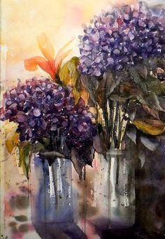 'Hydrangeas' by Georgia Mansur, watercolour. Please join me for one of the upcoming workshops in the USA, UK, Europe and Australia! georgia@georgiamansur.com, http://www.georgiamansur.com
