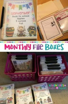 Get rid of those hanging files and read about these monthly boxes! Grab the covers as a freebie too! Classroom Get rid of those hanging files and read about these monthly boxes! Grab the covers as a freebie too! Daycare Organization, Kindergarten Classroom Organization, Teacher Paper Organization, Classroom Storage Ideas, First Grade Organization, Teacher Storage, Lesson Plan Organization, Organizing School, File Folder Organization
