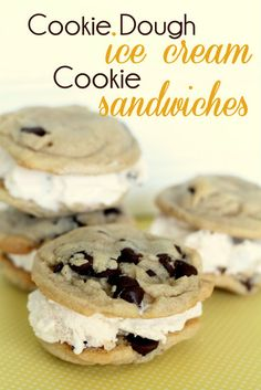 Chocolate Chip Cookie Dough Ice Cream Cookie Sandwiches - So easy and yummy!