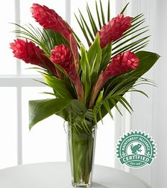 Return to Paradise Bouquet Exotic red ginger Tropical Floral Arrangements, Church Flower Arrangements, Orchid Arrangements, Flower Centerpieces, Tropical Flowers, Flower Decorations, Fresh Flowers, Purple Flowers, Silk Flowers