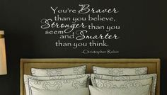 Braver than you believe Christopher Robin  Winnie the Pooh Quote Nursery VInyl Wall Lettering Decal LARGE 26w x 22h on Etsy, $38.00