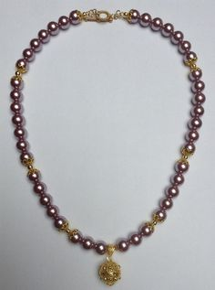 Pearls Necklace with Bead Spacers Pendant and by OlhodeShivaJoias