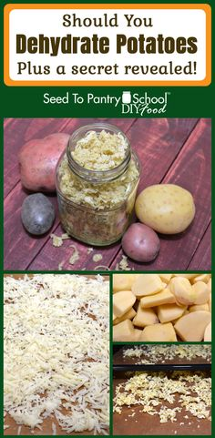 Step by step directions on how to dehydrate potatoes, plus the secret to using them to neutralize dehydrator odors. Dehydrated Vegetables, Dried Vegetables, Dehydrated Food, Dehydrate Potatoes, Dried Potatoes, Canning Potatoes, Canning Soup, Canning 101, Emergency Food