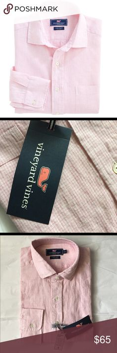 Vineyard Vines mens linen shirt! NWT Vineyard Vines overdye Classic Linen spread collar shirt! Button down! New with tags! 100% linen. Pink and white checked preppy shirt! Mens size Large Vineyard Vines Shirts Casual Button Down Shirts