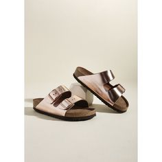 Birkenstock Strappy Camper Sandal in Rose Gold - Narrow ($135) ❤ liked on Polyvore featuring shoes, sandals, metallic strappy sandals, rose gold strappy sandals, rose gold shoes, birkenstock sandals and birkenstock shoes