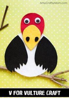Make this adorable V for Vulture Craft using our Printable Template that's perfect for learning about scavengers, carnivore birds, endangered birds or the Letter V Zoo Crafts, Bird Crafts, Arts And Crafts, Animal Crafts For Kids, Toddler Crafts, Art For Kids, Alphabet Letter Crafts, Preschool Crafts, Preschool Letters
