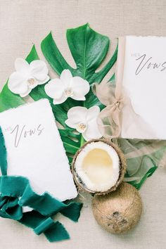 "From the editorial ""This Coconut Inspired Editorial Is Redefining Island Wedding Elegance."" We love these vow books paired with pops of island green! Head to SMP for more tropical details from this St. Wedding Vows, Destination Wedding, Wedding Bells, Wedding Stationery, Wedding Invitations, Green Wedding Decorations, Myrtle Beach Photographers, Vow Book, Wedding Planning Checklist"