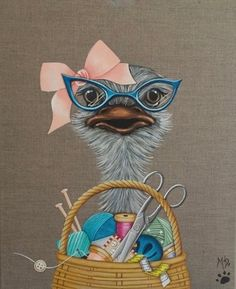 Discover great art by contemporary artist Pascale Pfeiffer. Browse artworks, buy original art or high end prints. Girly Drawings, Cute Animal Drawings, Cartoon Drawings, Cartoon Art, Funny Animal Comics, Art Fantaisiste, Cartoon Birds, Rock Painting Patterns, Easy Canvas Painting