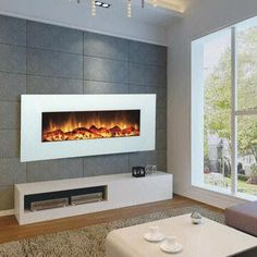 Touchstone 80002 Ivory 50 inch Electric Wall Mounted Fireplace is a beautiful wall mounted electric fireplace with realistic flames and contemporary white frame. All electric fireplaces ship free! White Electric Fireplace, Wall Mount Electric Fireplace, White Fireplace, Fireplace Ideas, Fireplace Design, Floating Fireplace, Fireplace Makeovers, Basement Fireplace, Bedroom Fireplace