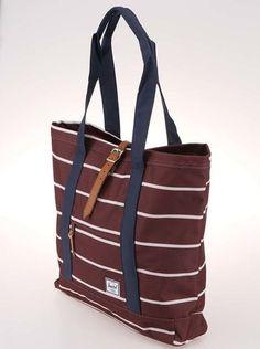 Herschel - Bílo-hnědá pruhovaná nákupní taška  Market XL - 1