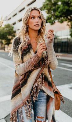 Fall Cardigan, Fringe Cardigan, Striped Cardigan, Long Sweaters For Women, Coats For Women, Stylish Outfits, Fashion Outfits, Fashion Ideas, Fashion Details