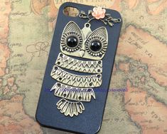 Cute Owl iphone case,owl on the branch ,resin flower case for iPhone 4 Case, iPhone 4s Case, iPhone 4 Hard Case. $11.99, via Etsy.