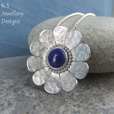 Lapis Lazuli Textured Daisy Sterling Silver Pendant - Gemstone Flower Necklace £72.00