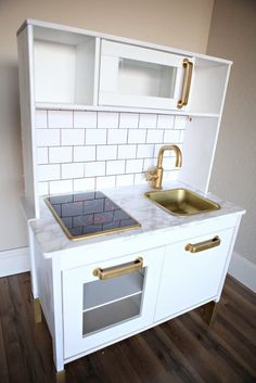 fixer upper style subway tiled kitchen ikea hack from the ikea kids play kitchen Ikea Kids Kitchen, Diy Play Kitchen, Toy Kitchen, Kitchen Hacks, Kitchen Ideas, Best Ikea Hacks, Ikea Duktig, Fixer Upper Kitchen, Rental Kitchen