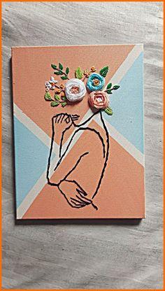 Simple Canvas Paintings, Small Canvas Art, Mini Canvas Art, Diy Canvas, Canvas Painting Designs, Canvas Designs, Hand Embroidery Art, Diy Painting, Diy Art