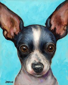 Chihuahua Puppy With Big Ears Painting by Dottie Dracos