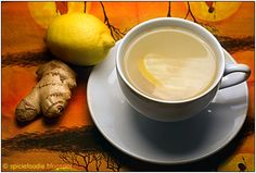 """Ginger tea recipe is one of the most popular and effective home remedy for colds, sore throat, indigestion, nausea, etc. Drinking ginger tea, benefits you with its number of medicinal properties. It improves blood circulation and boosts your immune system. I always add a tsp of organic apple cider vinegar with the """"mother"""""""