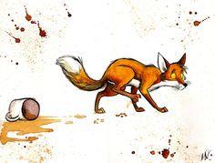 Coffee Killer by Culpeo-Fox on deviantART. Poor little fox!  He didn't try to! ^•^