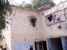 A building damaged in terror attack inside Army Unit at Nagrota.  Excelsior Photo