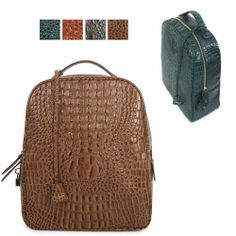 SPECIALCHOICE Women's genuine cowhide CROCO-emboss leather backpack bookbag