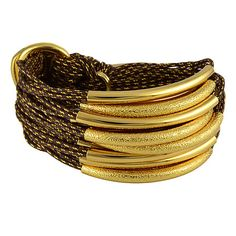 Gillian Julius Multi Tube Bracelet, Gold & Sandblast | Chocolate Cord. Multi strand bracelet consisting of 20 gold threaded waxed cotton cords. Each cord of bracelet features either a gold or gold sandblasted tube. $319