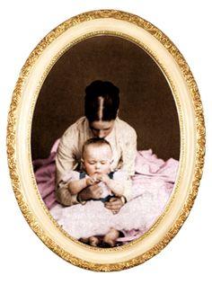 Maria Feodorovna kissing her baby Nicholas (later Tsar Nicholas II)