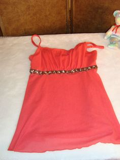 IZ Byer Sz M Women's Dark Salmon Pink Empire Waist Bead Trim Tank Top #IZByer #KnitTop
