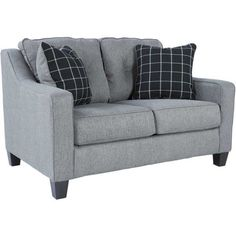 Contemporary Brindon Charcoal Loveseat by Ashley Furniture. This clean charcoal gray sofa will add modern lines & amazing style to your living room.
