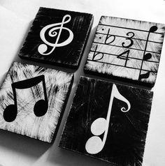 Música inspirada negro y pared blanca arte por WhimsicalArtBlocks