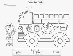 Fire prevention coloring books color by number truck worksheet worksheets for kindergarten lesson plans Kindergarten Lesson Plans, Kindergarten Worksheets, Preschool Activities, Math Literacy, Free Worksheets, Preschool Education, Fireman Crafts, Fire Safety Week, Fire Prevention Week