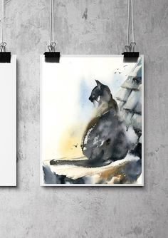 Direct from the Artist! Fine Art Print from Original Painting by CanotStop Cat in a Roof Fine Art Print, Cat Watercolor Painting Art, Cat Art, Cat Wall Art Print PRINT DETAILS: printed on Epson art printer specialised in museum quality printing, on heavy weight archival (acid free,