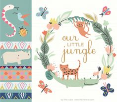 CLIP ART - Our Little Jungle - for commercial and personal use