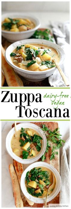 This healthier version of Zuppa Toscana is inspired by Olive Garden's famous recipe. Zuppa Toscana soup is an easy one-pot dinner recipe. #vegan #dairyfree #zuppatoscana