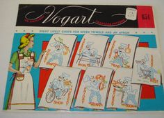 Vintage 1960s VOGART 8 Lively Chefs for Seven towels and an Apron  Iron On Embroidery Transfer Pattern #654 UNCUT by SweetLibertyStudio on Etsy
