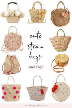 Summer's around the corner, and every girl needs a colorful straw handbag in her closet! In today's affordable summer style roundup, Stephanie Ziajka from the popular affordable fashion blog Diary of a Debutante shares 18 cute straw bags for summer under $50! Whether you love pom pom bags, tassel bags, or a mix of both, there's something for everyone. Click through to see them all. #handbags #summerstyle #summerfashion #strawbags #under50 Beach Accessories, Fashion Accessories, Crochet Accessories, Affordable Clothes, Affordable Fashion, Straw Handbags, Summer Handbags, Summer Tote Bags, Straw Tote