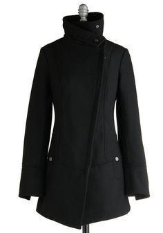 Diagonal Alley Coat in Black by Steve Madden - Black, Solid, Long Sleeve, Casual, Military, Fall, Winter, Exclusives, Long, Black, 4, WPI, Gals