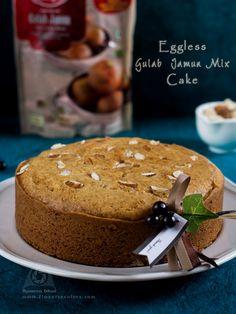 Eggless Gulab Jamun Mix Cake ~ Flavors N Colors Eggless Desserts, Eggless Recipes, Eggless Baking, Easy Baking Recipes, Cooking Recipes, Vegan Baking, Fun Desserts, Bread Recipes, Gulab Jamun Cake Recipe