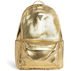 Joyrich Metallic Faux Python Backpack ($248) ❤ liked on Polyvore featuring bags, backpacks, gold, brown bag, faux bags, knapsack bags, snake skin bag and snake bag