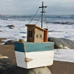Blue Rustic Trawler | Model Boat | Decorative Boat