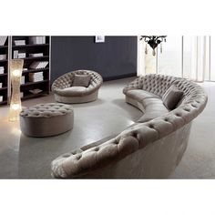 Cozy Curved Sectional Sofa Small Round Leather