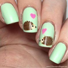 25 Sweetpeas: Woodland Animal: Hedgehog Nail Art Nail Design, Nail Art, Nail Salon, Irvine, Newport Beach