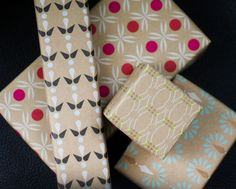 wrapping paper: festive prints on plain brown paper is lovely