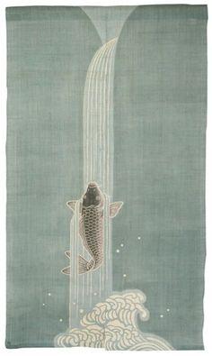 too spendy---Japanese Koi Carp & Waterfall Noren: Designed By Rakushian of Kyoto