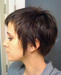 DEV Straight Dark Brown Choppy Layers Pixie Cut Hairstyle