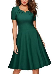 Commandez Summer Fashion Retro Style Women Short Sleeve O-neck Elegant Dress Cocktail Party Ball Gown Swing Pleated Dress sur Wish - Acheter en s'amusant A Line Cocktail Dress, Cocktail Dresses, Cocktail Outfit, Vetement Fashion, Mode Outfits, Swing Dress, Elegant Dresses, Green Dress, Flare Dress
