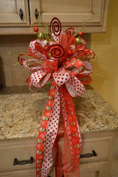 Whimsical Snowman And Polk a dot Ribbon Tree by kristenscreations