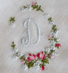 embroidery on antique hanky; this blogger has 3 very interesting primers on antique hankies plus other antiques