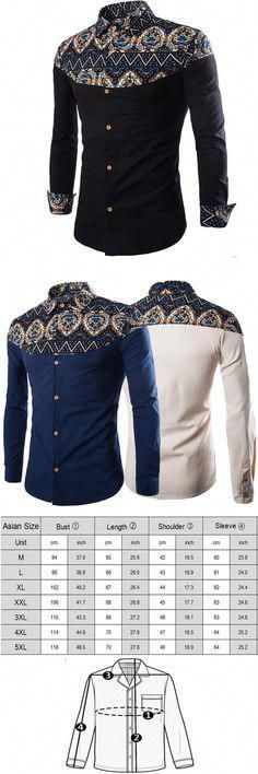 2017 Spring Fashion Tribal Floral Traditional African Print Long Sleeve Hemp Linen Shirts Men Plus Size Black Navy Beige African Fashion Designers, African Print Fashion, African Fashion Dresses, African Attire, African Wear, African Dress, African Style, African Beauty, Men's Fashion