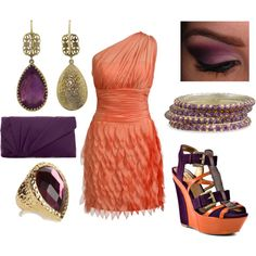 I don't love the outfit but i really like the orange and purple color combo.